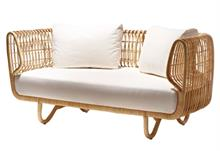 Cane-line Nest kurvesofa - rattan - inklusiv hynde Y124 Off white Swipe elements fabric